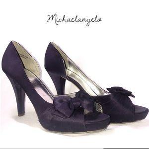 Michaelangelo Mirabella Satin Bow Heels Size 10